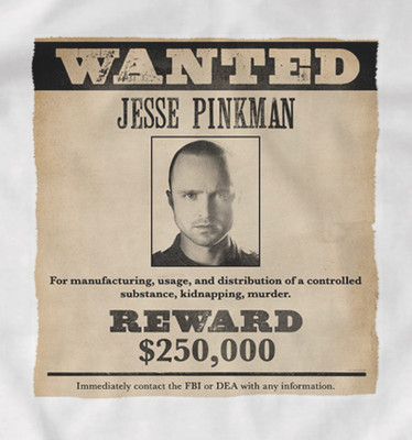 Breaking Bad Wanted Poster 'Jesse Pinkman' t-shirt