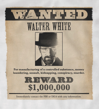 Breaking Bad Wanted Poster 'Walter White' t-shirt