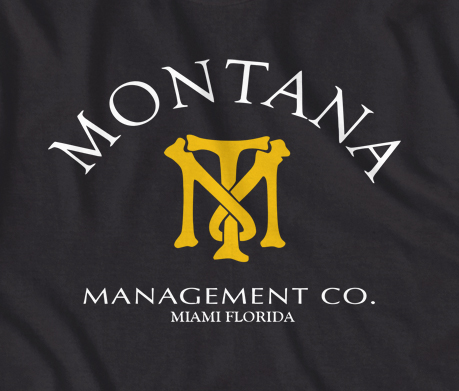 Scarface Montana Management Co T Shirt In Black Or Navy Blue